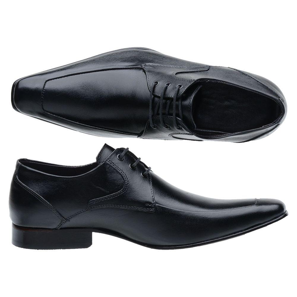 a8a9553461 Sapato Social Masculino | Couro Natural Preto Cadarço - FKV Calçados