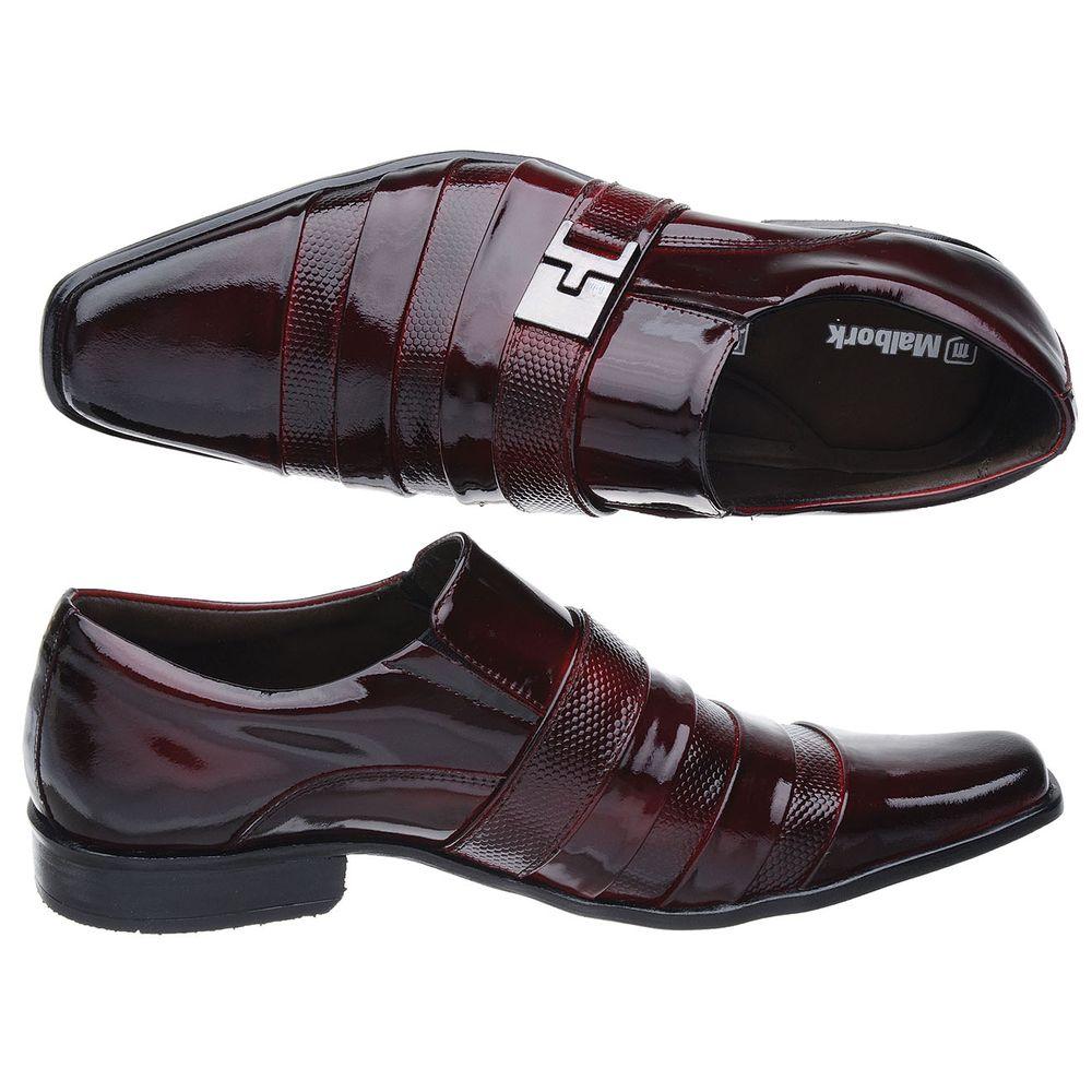 46a854b45 Sapato Social Malbork em Couro Verniz Dark Red 232 - FKV Calçados
