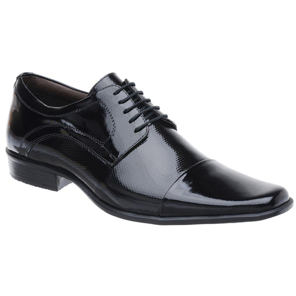 398e7c1ea Sapato Social Malbork em Couro Verniz Preto com Cadarço - FKV Calçados