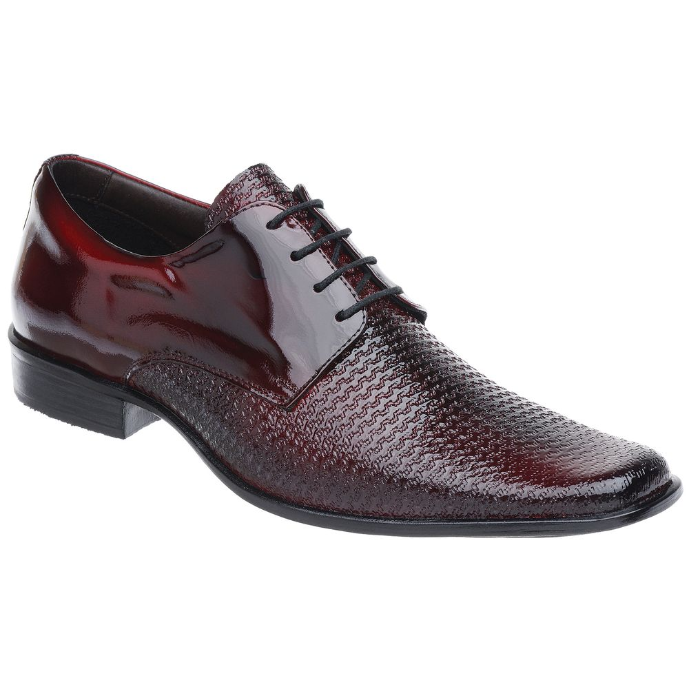 7faa17a59 Sapato Social Malbork Em Couro Verniz Dark Red Cadarço - FKV Calçados