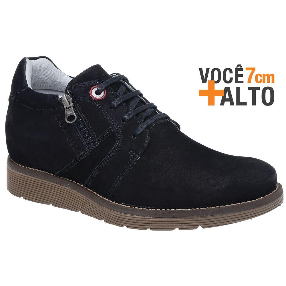 69fb4868454 Sapatênis Rafarillo Couro Preto Linha Alth + Alto 7cm - FKV Calçados