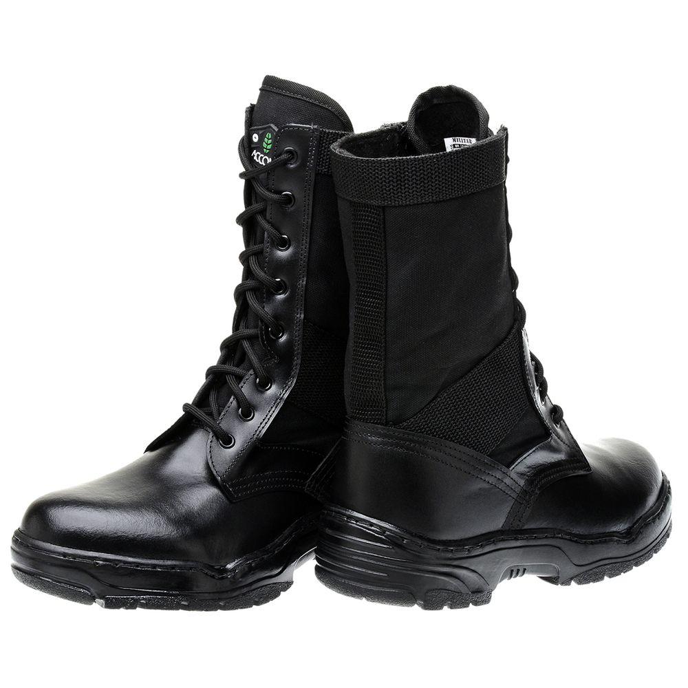 ecfc401b1a Bota Militar Accona em Couro e Lona Cano Médio CLZ200 - FKV Calçados
