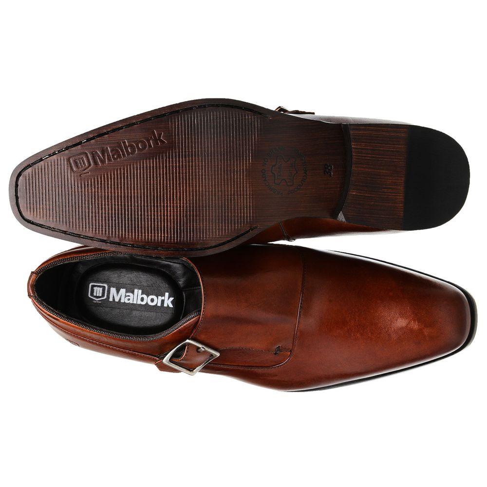 1985cb2dfd Sapato Monk Masculino Malbork em Couro Caramelo 60054 - FKV Calçados