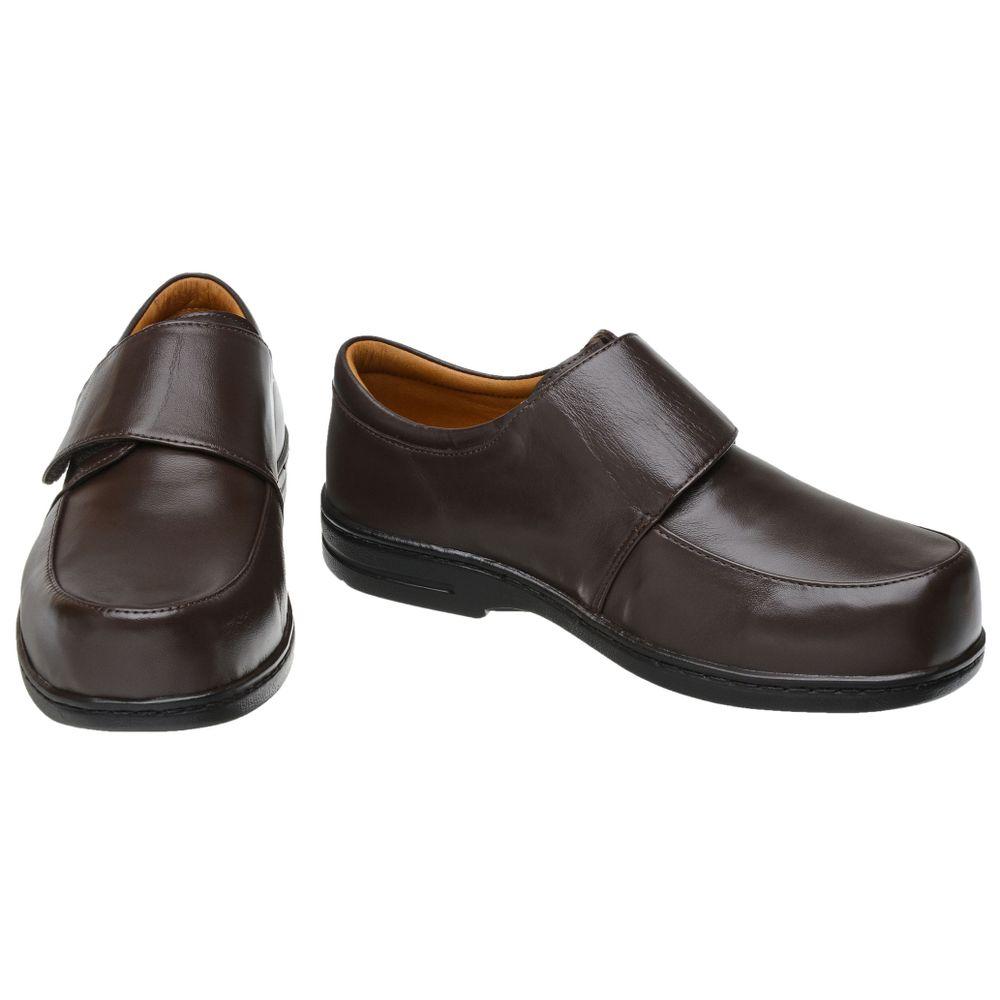 10b2ddfa6 Sapato para Diabéticos Doctor Pé com Velcro Couro Café - FKV Calçados