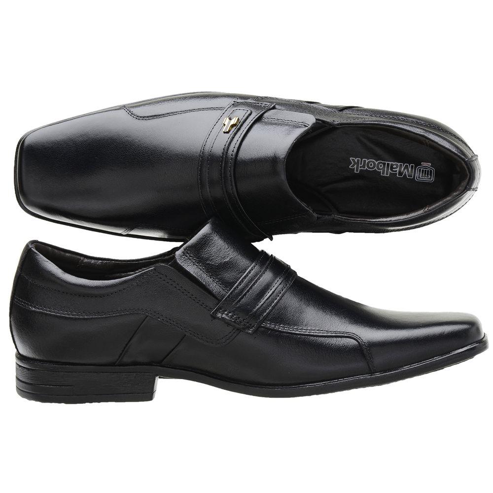 702278682 Sapato Social Masculino Malbork Em Couro Legítimo Preto - FKV Calçados