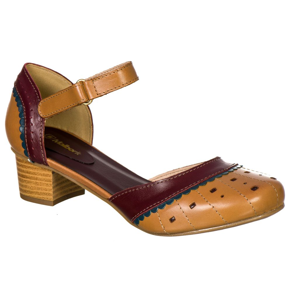 e48b5ae608 Sapato Feminino Boneca Retro Malbork em Couro Whisky 3114 - FKV Calçados