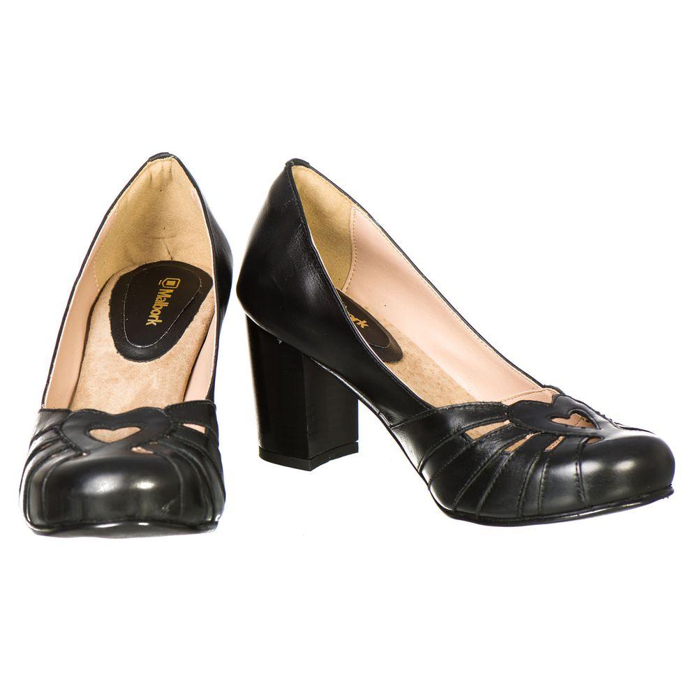 a563c827a5 Sapato Boneca Retro Malbork em Couro Preto Salto 7cm 3184 - FKV Calçados