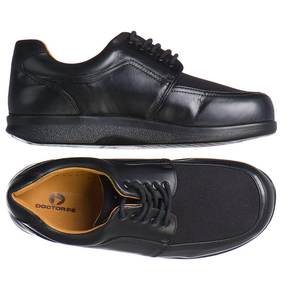 0a9755310d Sapato Doctor Pé Diabéticos Couro Carneiro e Neoprene Preto 67104 ...