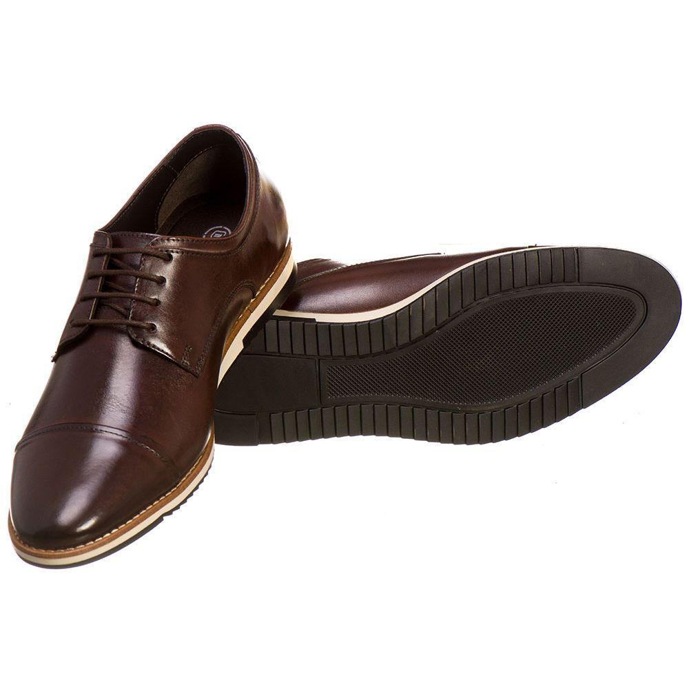 b3ee110b29 Sapato Casual Masculino Malbork em Couro Marrom 24515 - FKV Calçados