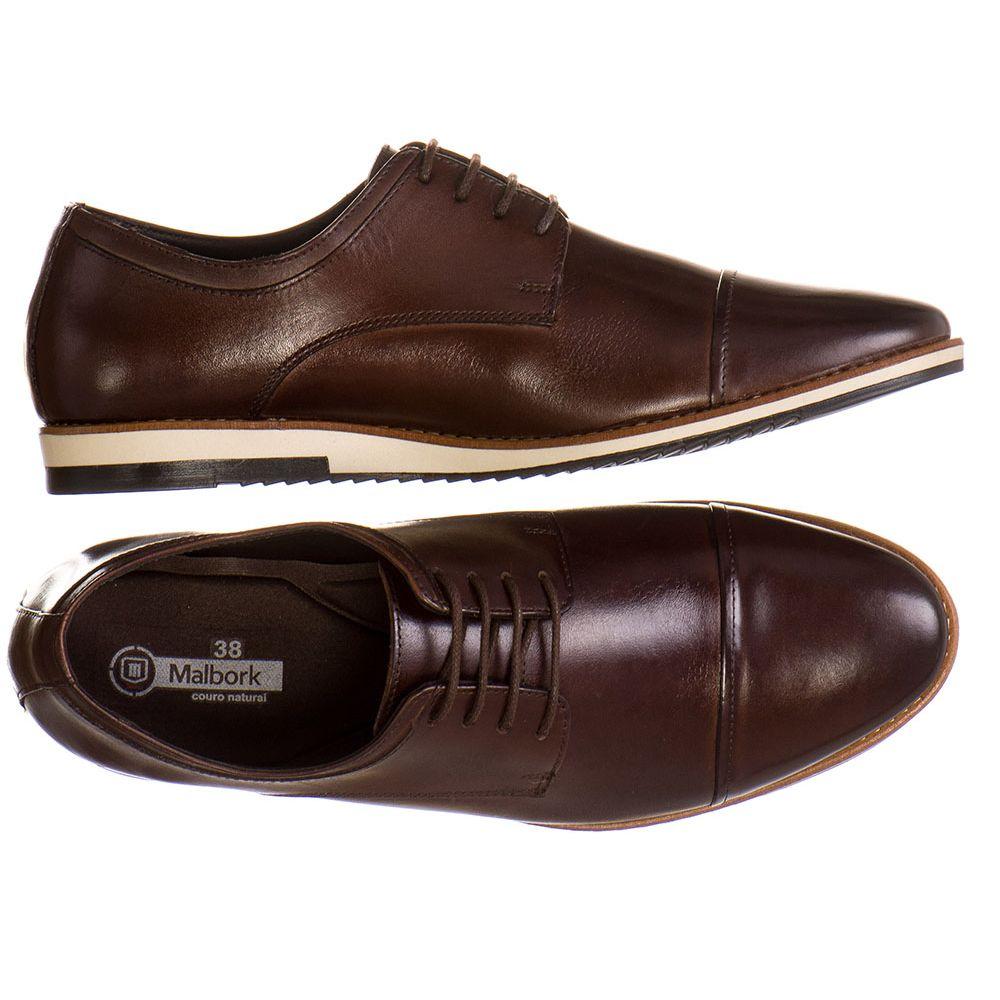 bbd6383be Sapato Casual Masculino Malbork em Couro Marrom 24515 - FKV Calçados