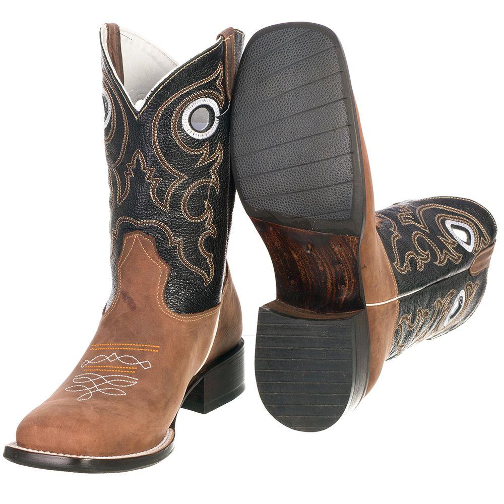 a2c13e9b13 Bota Country Texana Masculina em Couro Bico Quadrado 2020 - FKV Calçados