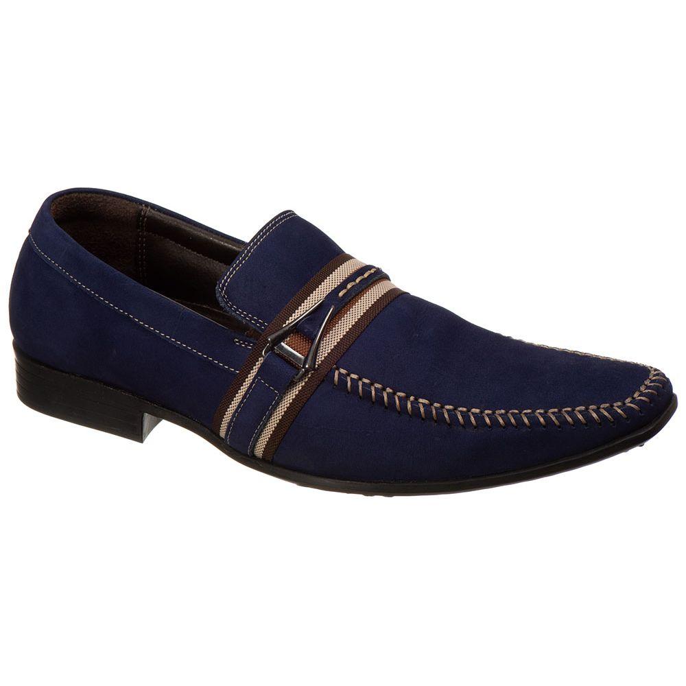 a561252f38 Sapato Masculino Malbork Couro Azul Solado Borracha 915 - FKV Calçados