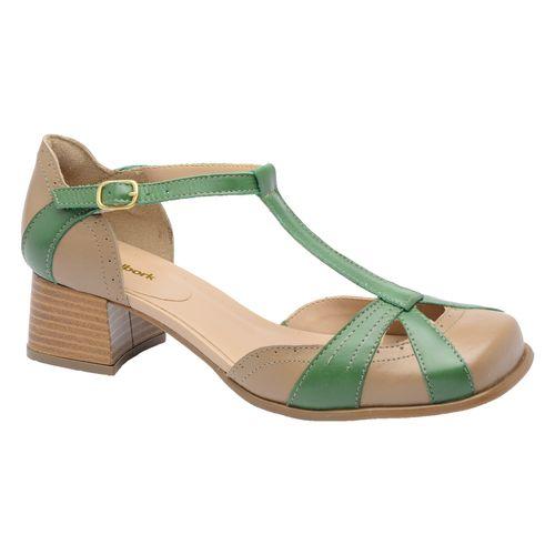 Sapato-Boneca-Retro-Malbork-em-Couro-Taupe-E-Verde-Salto-45cm-3161-01