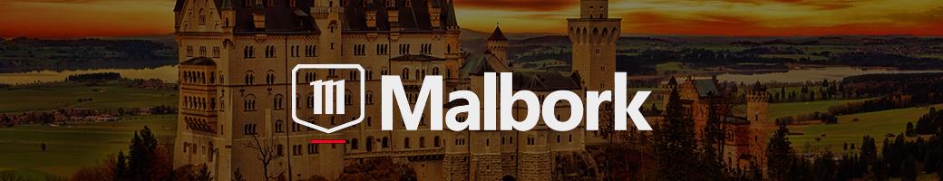 Banner ilustrado mostrando propriedades da marca Malbork