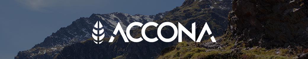 Banner ilustrado mostrando propriedades da marca Accona